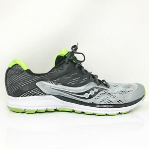 Saucony Mens Ride 10 S20373-1 Gray Black Running Shoes Lace Up Low Top Size 12
