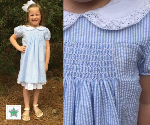 Smocked Seersucker Dress 12m-6T FREE SHIPPING