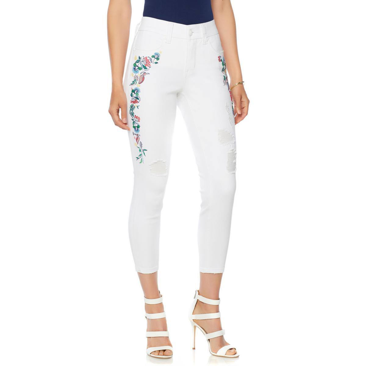 Melissa McCarthy Seven7 Floral Embroidered Pencil Jean - Missy White Size 16 HSN