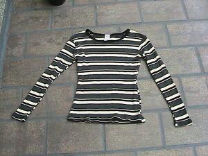 Pulli-Langarmshirt-Shirt-T-Shirt-Gr-M-Bauchfrei-schwarz-grau-beige-gestreift