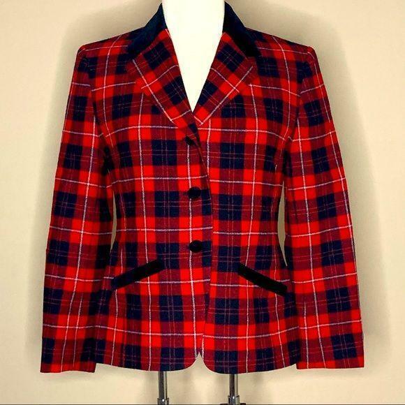 Pendleton | Vintage Red Plaid Blazer Velvet Trim - image 1