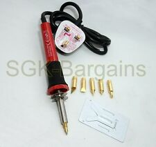 30W WOOD BURNING PEN SOLDERING SET PYROGRAPHY TOOL KIT CE SPARE BRASS TIPS 68435