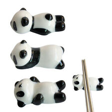 Pop 3Pcs Cute Porcelain Ceramic Panda Chopstick Stand Rest Rack Holder Decor Kit