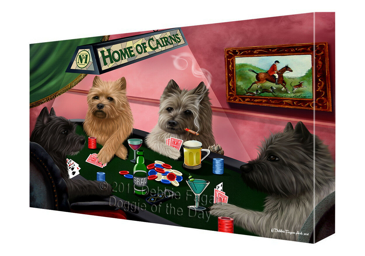 Home of Cairn Terrier Hunds Playing Poker Canvas Wand Kunst