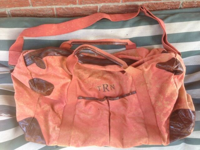 Pottery Barn Salmon Canvas Leather Weekender Big Large