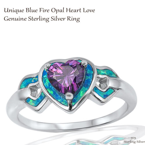 Vintage Sterling Silver Heart cut Amethyst Inlay Opal Ring Size 9