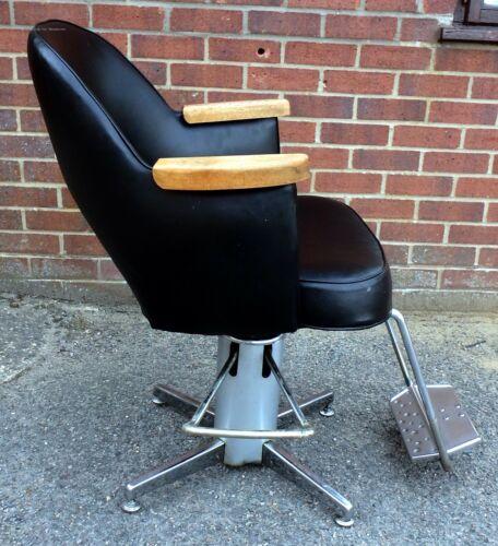 1960s vintage original teak chrome black faux leather adjustable barbers chair