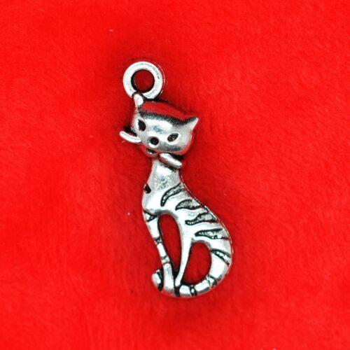 8 x Tibetan Silver Looking Upward Cat Charm Pendant Jewelry Making Craft