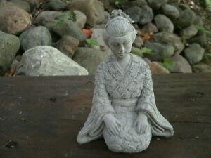 Small Cement 6 Quot Tall Kneeling Geisha Asian Garden Art