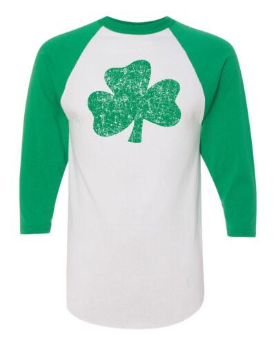 St Patrick Day Pat/'s Distressed Shamrock Raglan Sleeve Jersey Tee 1581