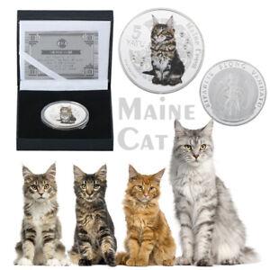WR Maine Coon Cat Silver Coin Vanuatu 5 Vatu Colorized Metal Medal