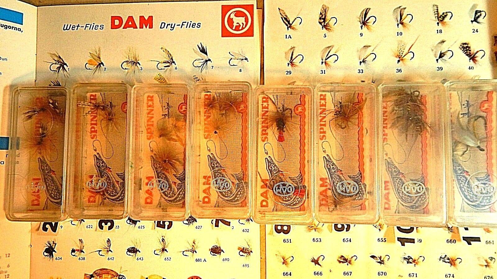 Rare 50s' German Vintage DAM fishing fly lureNOS in box 2,3,5,7,8,9,10,11NOS