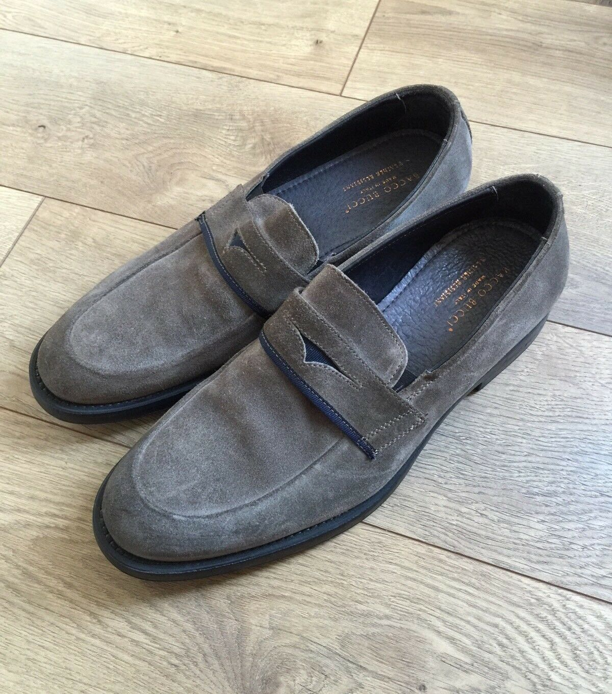 Scarpe casual da uomo  uomos Bacco Bucci Suede Slip On Loafers Shoes size 9.5 Olive Grey