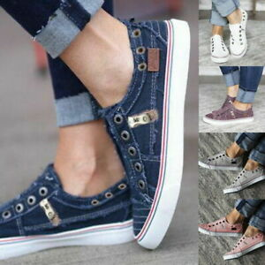 Womens Loafers Classic Casual Canvas Slip On Fashion Shoes Sneakers Flats