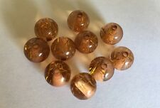 10 perles rondes en acrylique transparent avec incrustation paillettes or 12 mm