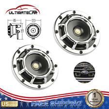 2 Chrome Electric Compact Car Horn Super Loud Blast Tone Grill Mount 12v 335 400