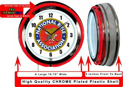 """NRA National Rifle Association 19/"""" Double Neon Clock Red Neon Man Cave Garage"""