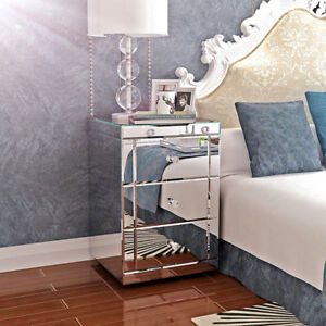 Meubles miroir en verre 3 tiroirs chevet Table Table Chambre Salle de bains