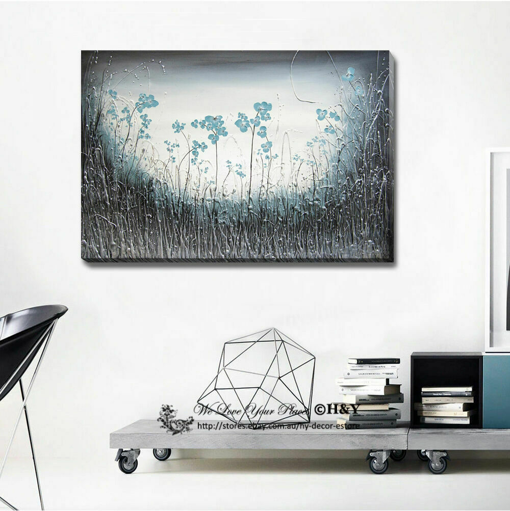 Abstract Blau Flowers Stretched Canvas Drucken Framed Wand Kunst Home Decor Painting