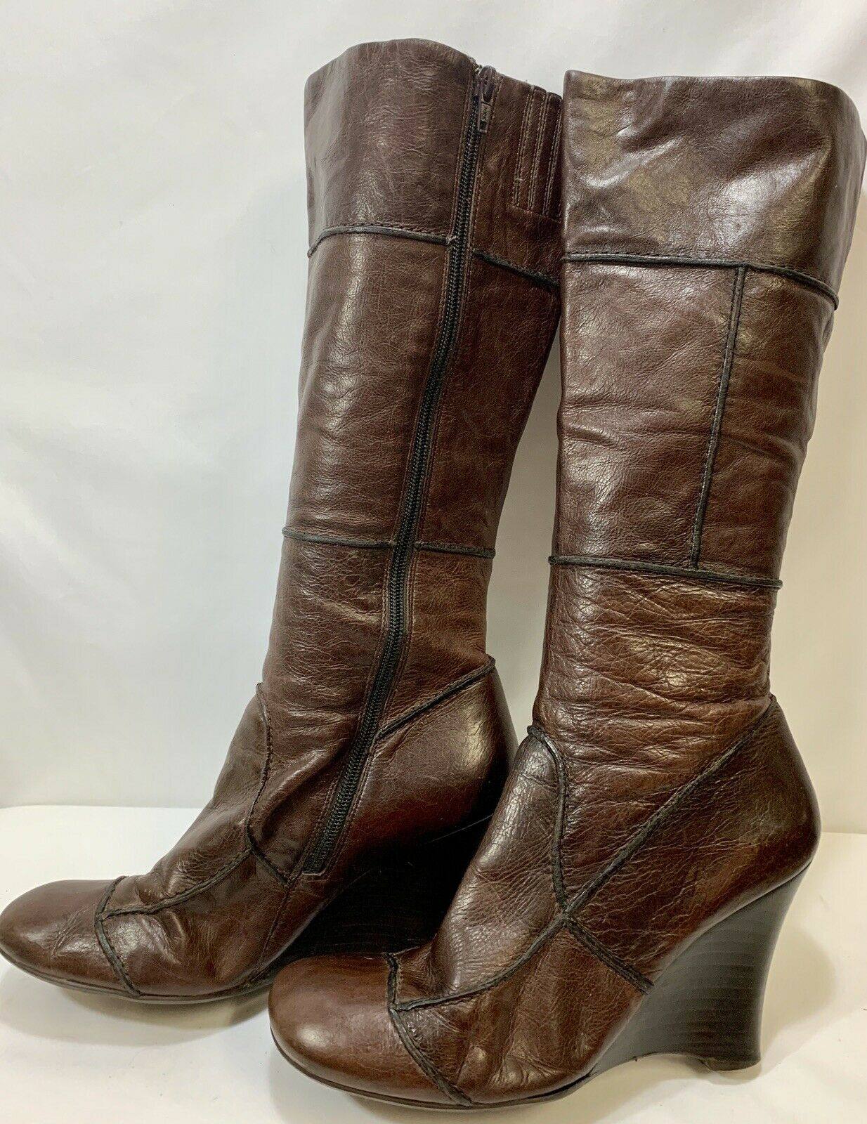 ALDO Brown Leather Side Zip Heeled Knee High Boots Women's Size 40