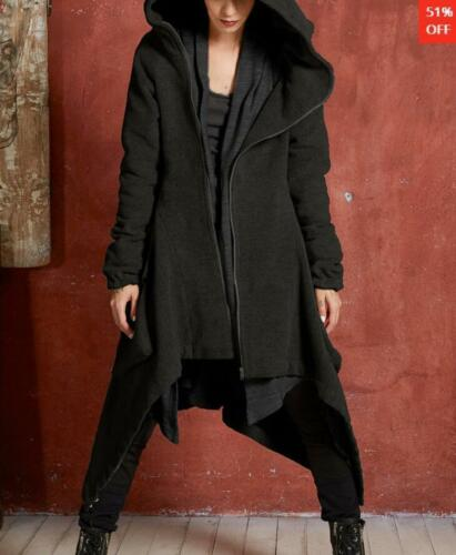 Women Long Gothic Steampunk Parka Coat Hooded Cotton Slim Asymmetric Punk Jacket
