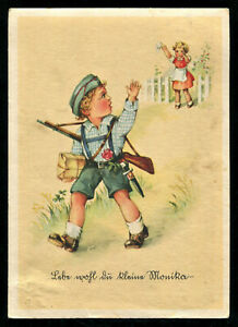 1935 Germany 3rd Reich Picture Postcard German Hitler Youth Boy Soldier Parody