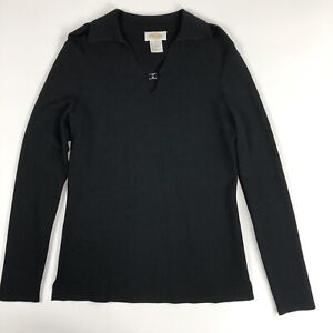 Talbots-Womens-Long-Sleeve-Knit-Black-Sweater-with-Collar-Size-S-NWOT