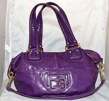 Guess Purple Shiny Faux Leather Large Shoulder Bag with Detachable Strap