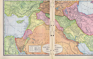 The Old Testament World 1938 Biblical Map Print Ebay