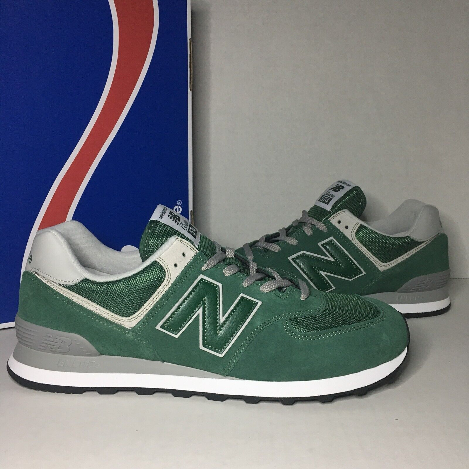 New Balance Classics Forest Green White Grey Black ML574EGR Men's Size 13