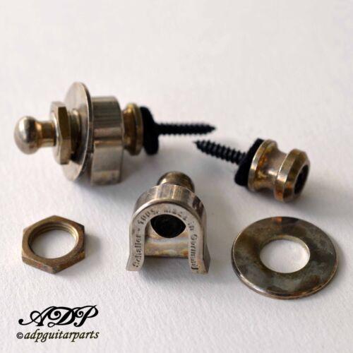 2 x Attache Courroie Strap Lock Schaller genuine SC570.250 NIckel Aged Relic