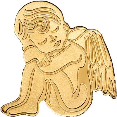 1//2 Gram 13.92mm 24k Coin in Capsule PALAU $1 Dollar COA GUARDIAN ANGEL