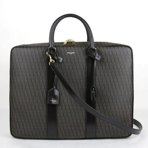 $1890 Saint Laurent YSL Black//Brown Leather Medium Briefcase 343699 1059