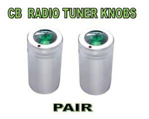 CB Radio  Tune Knob SET (PAIR)  w/ Green Jewels chrome