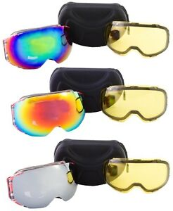 29dc9bfa9aa La foto se está cargando Gafas-de-Esqui-Snowboard-con-2-Lentes-incluido-