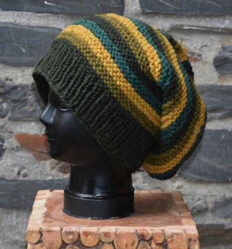 Long Beanie Winter Wollmütze Kopfbedeckung Schafwolle Strick Mütze Hippie Goa