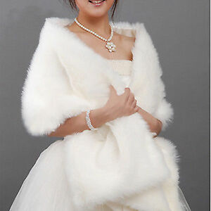 New-Red-ivory-White-Faux-Fur-Wrap-Jacket-Bolero-Shawl-Shrug-Cape-Bridal-amp-Wedding