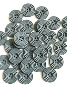 30 pcs Gray Grey Buttons Sewing Coat Sweater Button Wood Big Fastener Carved