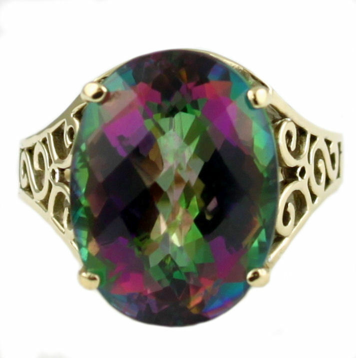 Mystic Fire Topaz Solid 10KY or 14KY gold Ladies Ring R049-Handmade