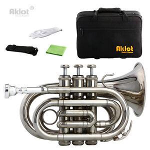 Aklot Bb Mini Pocket Trumpet 7C Silver Plated Mouthpiece Brass Body W/Case