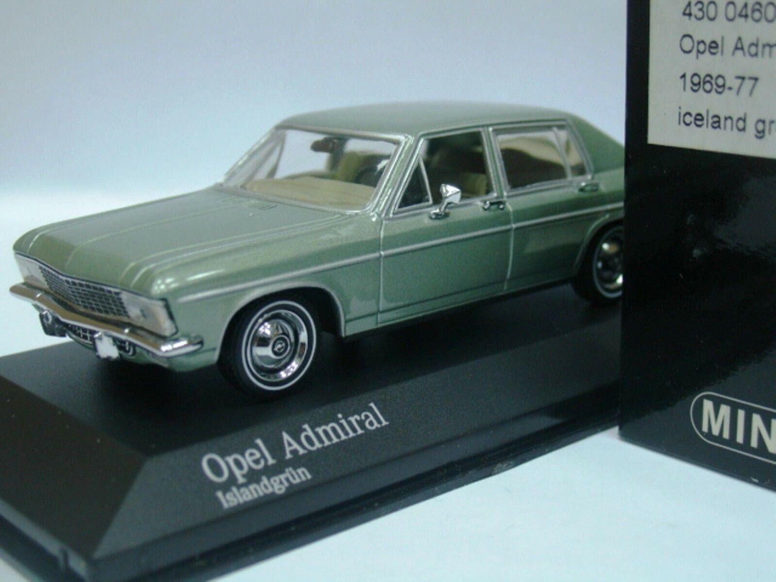 Wow extrêmement rare OPEL ADMIRAL B 2.8 L I6 auto 1974 vert 1 43 Minichamps-Rekord