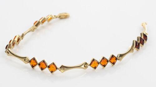 Italian Made Diamante Corte ámbar Del Báltico ámbar Pulsera en oro de 9CT GBR131 RRP £ 390!