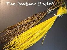 Lot 10 Grizzly Feathers Hair Extensions long thin skinny striped Real YELLOW