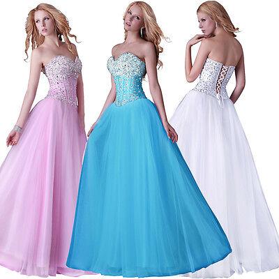 Damen STRASS Abendkleid Hochzeit Brautkleid Ballkleid Tulle lange Ccoktail Kleid