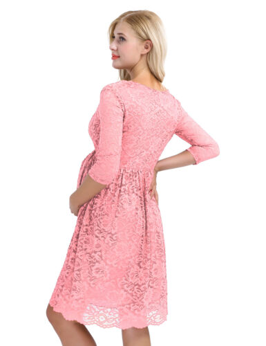 Womens Maternity Floral Lace Overlay Half Sleeve Pregnant Photography Maxi Dress