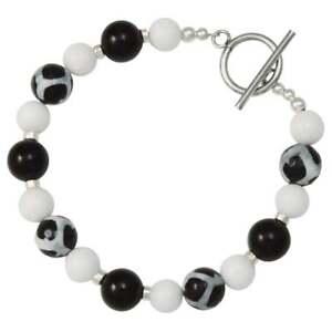 Details About Portamento Black Agate White Jade Beaded Bracelet