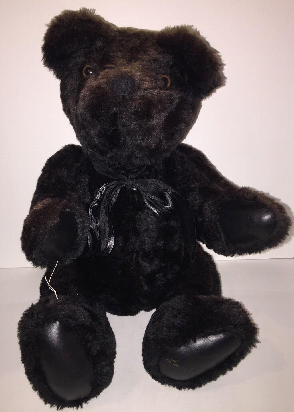 Vintage Laurel Jointed Handmade Teddy Bear - Signed - Dark Marronee - Dated 1984