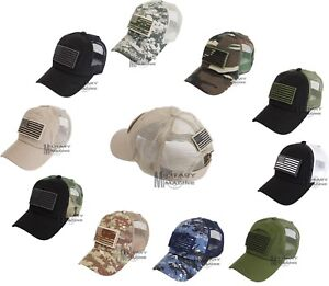 USA Flag Detachable Patch Hat Trucker Mesh Back Tactical Operator ... 36ee183402e