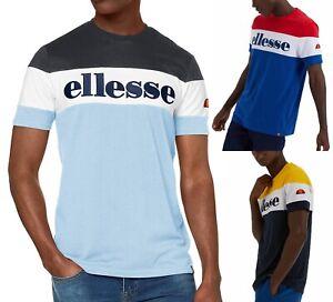 Ellesse-clasico-punto-Bloque-De-Color-De-Cuello-Redondo-Camiseta-Tee-Camiseta-Casual-Deportes-Retro
