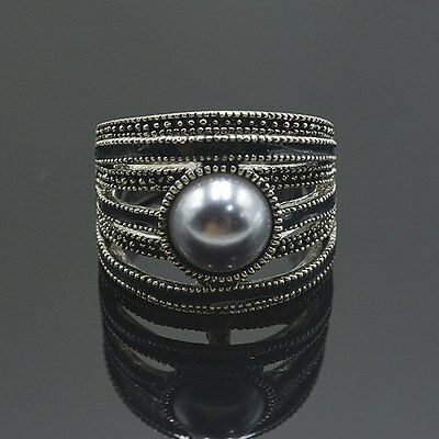 New Women Black Vintage Sterling Pearl Ring with Marcasite Stone Embellishments